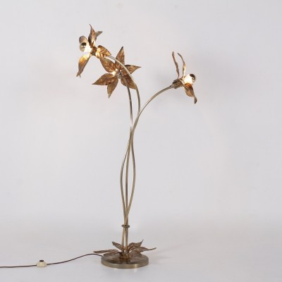 Hollywood Regency gilt flowers floorlamp