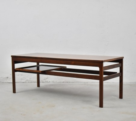 Rosewood coffee table with serving tray by Hans Olsen for Buck & Kjaer, Denmark