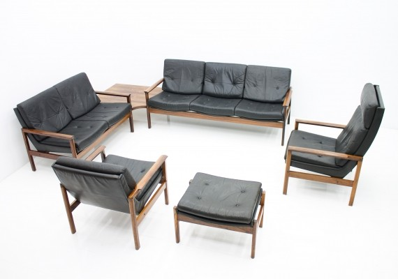 Scandinavian Seating Group in Rosewood & Black Leather, 1970s