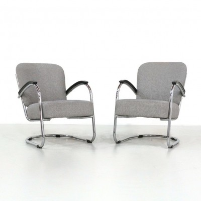 Pair of Tubular Lounge Chairs by Paul Schuitema, 1930s