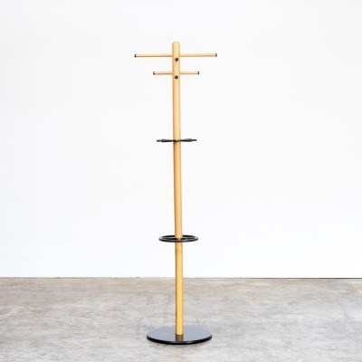 80s Birch free standing coat rack