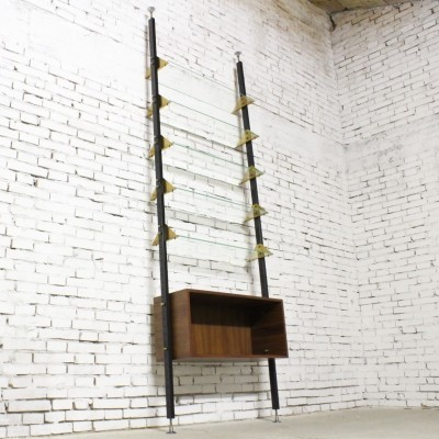 Elegant mid century italian ceiling bookcase with glass shelves, 1950s