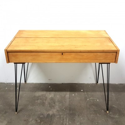 Birch writing desk with hairpin legs, Netherlands 1950s