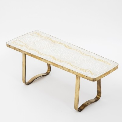 Mosaic & brass coffee table by Berthold Müller Oerlinghausen