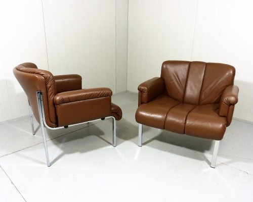 Set of 2 Girsberger Euro Arm Chairs in Leather, 1960's