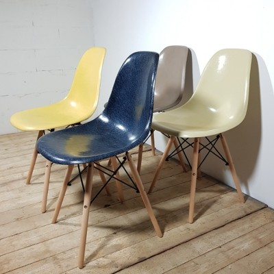 Multicolor set of Eames DSW chairs for Herman Miller
