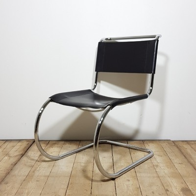 Ludwig Mies van der Rohe MR10 chair for Thonet in Black leather