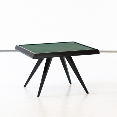 Italian Modern Green Leather & Black Wood Coffee Table, 1950s