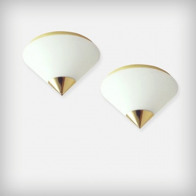 Pair Of Brass & Opal Glass Ceiling Or Wall Lights from Glashütte Limburg, 1980s