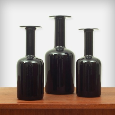Set of 3 Black Glass 'Gulvvase' vases by Otto Breuer for Kastrup Holmegaard, 1960s