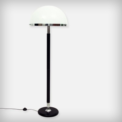 Swiss Chrome, Wood & Perpex Floor Lamp from Temde Leuchten, 1960s
