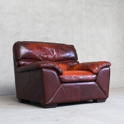 Italian Leather Lounge Chair, 1980s
