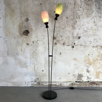 Italian Floorlamp with two colored glass shades, Italy, 1950s
