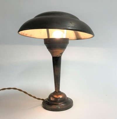 Art deco copper 'mushroom' desk lamp, 1930s