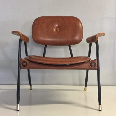 Artificial leather Italian arm chair by Marco Zanuso for Poltronova, 70s