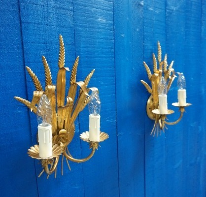 Pair of Italian Hollywood Regency Gilt Metal Sheaf of Wheat Wall Sconces, 1960s