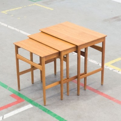 Set of 3 AT-40 nesting tables by Hans Wegner for Andreas Tuck, 1950s