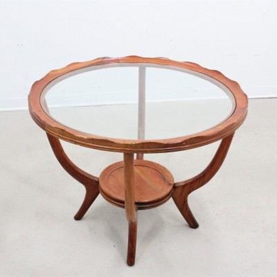 Mid century italian walnut wood round coffee table, 1940s