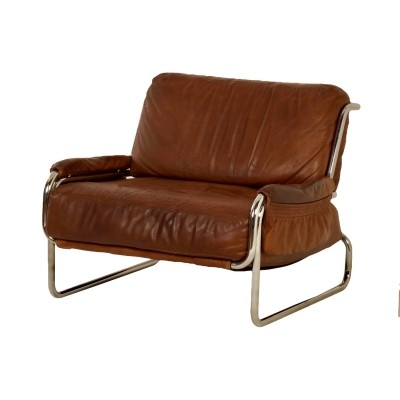Brown Leather Easy Chair, Italy 1970s