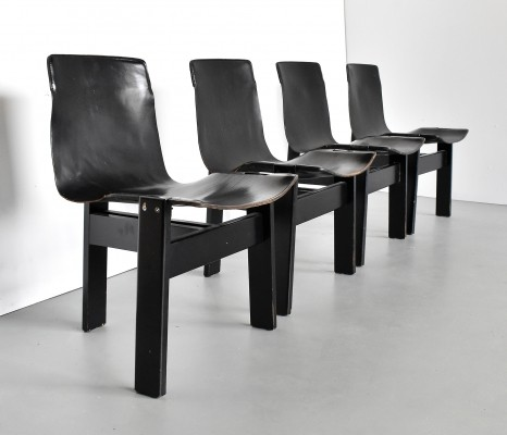 Set of 4 Tre 3 dining chairs by Angelo Mangiarotti for Skipper, 1970s