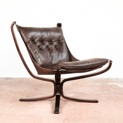 Falcon Chair in brown leather by Sigurd Ressell for Vatne Møbler