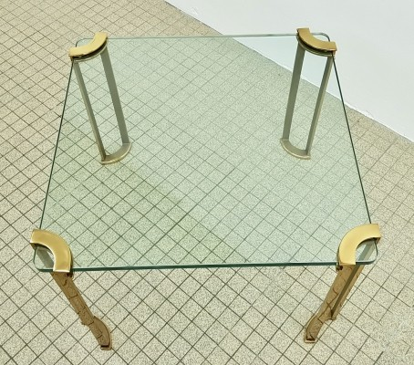 Hollywood regency brass coffee table 1980s