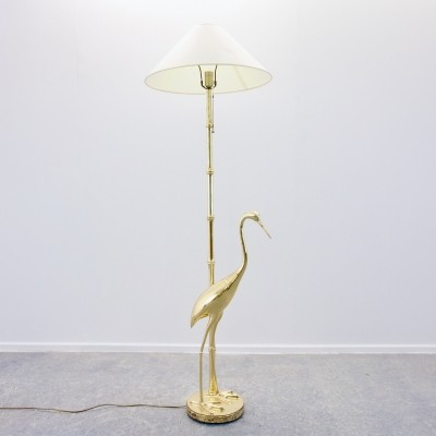 Hollywood regency brass 'crane' floor lamp, 1970s