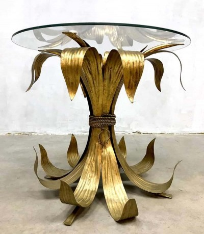 Italian brass leaf coffee table