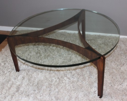 Vintage glass & rosewood coffee table by Sven Ellekaer, 1962