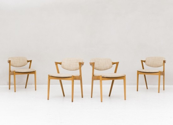 Set of 4 Model 42 dining chairs by Kai Kristiansen for Schou Andersen SVA Møbler, 1960s