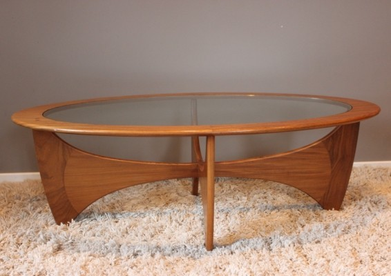 Vintage teak & glass oval coffee table by Victor Wilkins for G-PLAN