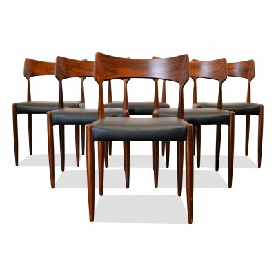 Set of 6 Vintage Bernhard Pedersen & Son rosewood dining chairs