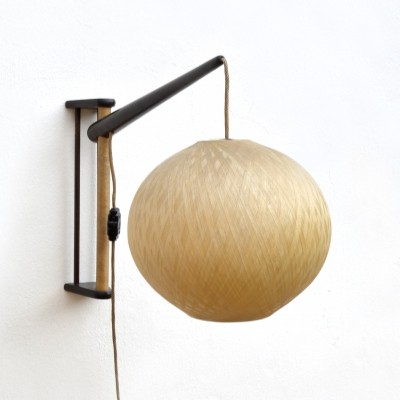 Adjustable Wall Lamp With Natural Lamp-shade, Czechoslovakia 1960s
