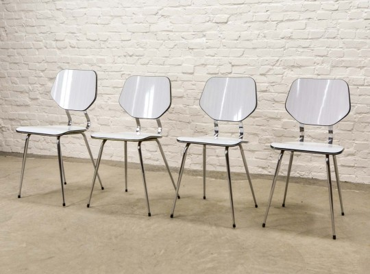 Set of Four Vintage Design White High Quality Brabantia Kitchen Chairs, 1960s