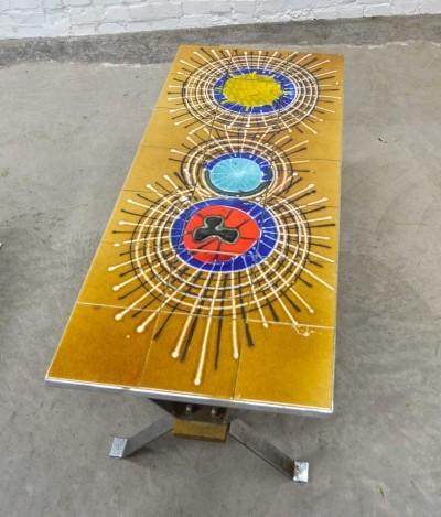 Vintage Ceramic Tiles Coffee Table 'Splashes' on Chrome Frame, Belgium 1960s
