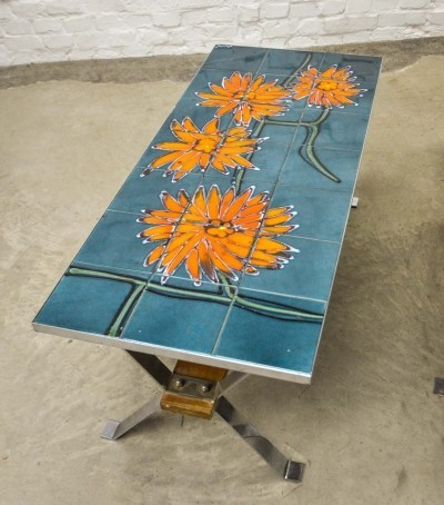 'Orange Flower' Design Vintage Ceramic Tiles Coffee Table on Chrome Frame, 1960s