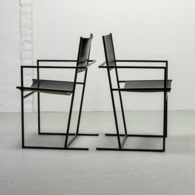 Dutch Design Black Leather & Metal Dining Chairs by Albert Geertjes, 1984