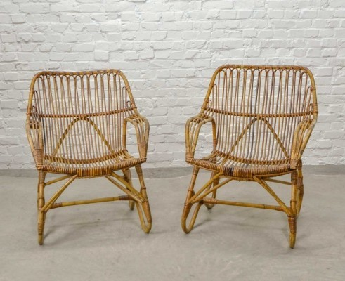 Pair of Mid-Century Design Rattan Low Back Easy Armchairs, The Netherlands 1960s