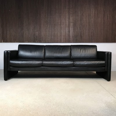 Model 'Studio' Black Leather Three-Seater Sofa by Walter Knoll, 1980s