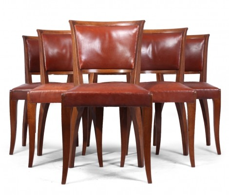 Set of 6 French Art Deco Dining Chairs, c1930