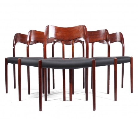 Set of 6 Rosewood Model 71 Dining Chairs by Niels Otto Møller