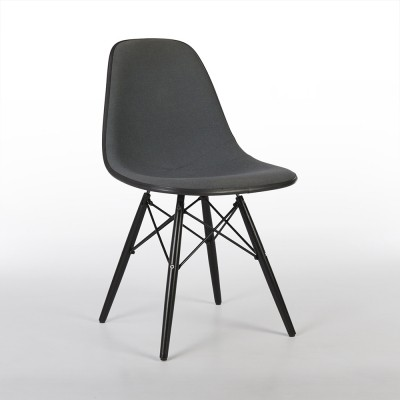 Grey Upholstered Herman Miller Original Eames DSW Dining Side Chair
