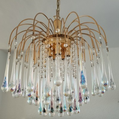 Gilt brass chandelier with Murano glass teardrops