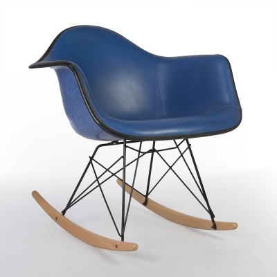 Blue Vinyl Herman Miller Original Eames Blue RAR Rocking Arm Chair
