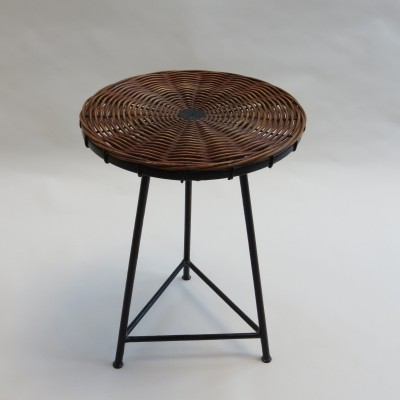 French Guy Raoul side table with metal base & rattan top, 1960s