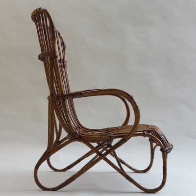 Lounge chair made from steam bent cane & rattan, 1920s