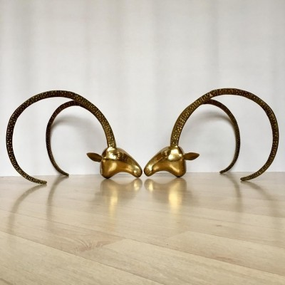 Vintage Brass Ram or Ibex Heads Coffee Table Base, France 1970s