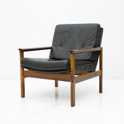 Scandinavian Easy Chair in Rosewood & Black Leather, 1960s