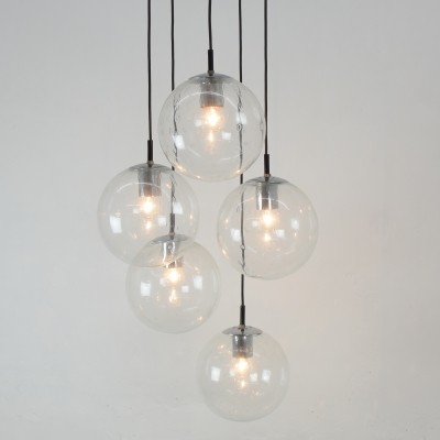 Five glass sphere chandelier by Raak, The Netherlands 1970's