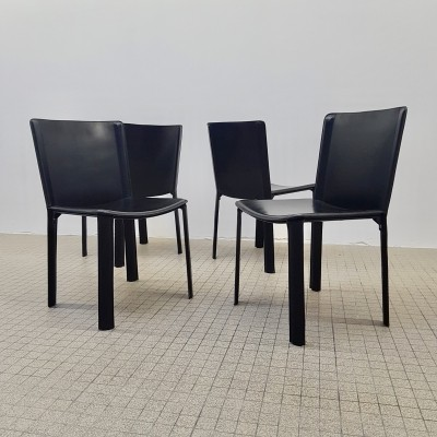 Vintage design black leather dining chairs by Willy Rizzo for Cidue, 1970s